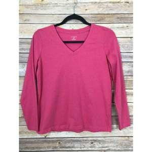 Lands End XS V Neck Supima Cotton Pink Tee B33